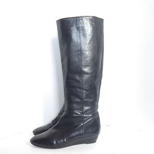 Loeffler Randall Matilde black leather wedge boots